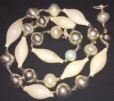 Antique Glass Garland - Round Silver & Tapered White Unsilvered Beads