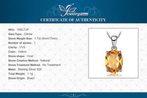 Natural 1.7 ct Citrine Pendant with 925 Sterling Silver Necklace UK Seller