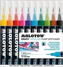 MOLOTOW GRAFX AQUA INK SOFTLINER - 10 PIECE BRUSH MARKER PEN SET - BASIC SET 1