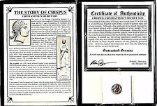 Constantines Secret Son, Crispus Coin,4th Century A.D.,Certificate,Story & Album