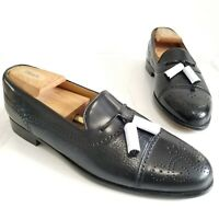 MEZLAN Havana Tassel Loafers Cap Toe Black Leather Brogue Men's Dress Shoes 9.5