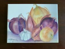 *NEW* ART TILE w/ ONIONS & GARLIC [Artist signed, Made in USA]