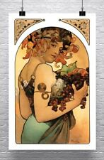 Le Fruit 1897 Alphonse Mucha Art Nouveau Rolled Canvas Giclee Print 24x36 in.