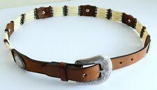 Tony Lama Brown Leather Bovine Bone Silver Concho Belt Size 32