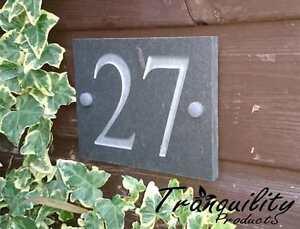Engraved Natural Slate House Door Gate Number Sign Plaque 1 2 OR 3 DIGIT NUMBER