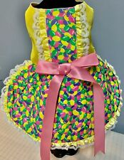 Easter Jelly Bean Yellow Dog Dress with Double Lace - Fully Lined - SMALL