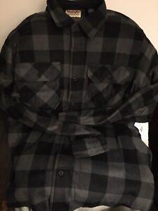 Wrangler Authentics Charcoal Plaid Flannel L/S Shirt Mens Size L NEW