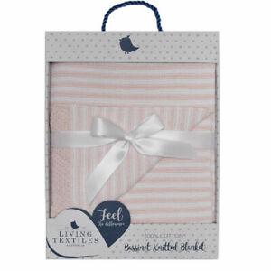 Living Textiles knitted stripe blanket blush white gift 100% cotton