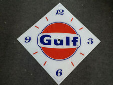"*NEW* 15"" GULF GASOLINE GAS OIL DIAMOND GLASS clock FACE FOR PAM WWII"