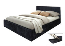 Boston Black 4ft6 Double Ottoman Crushed Velvet Storage Gas Lift Up Bed Strong