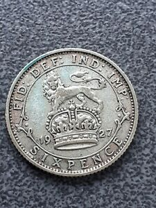 1927  George V  silver Sixpence -