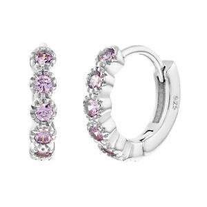 925 Sterling Silver Adorable Pink CZ Huggie Small Hoop Earrings For Girls 11mm