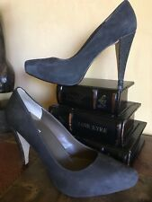 Max Studio, charcoal suede w/ metallic accent heel, leather sole, size 7