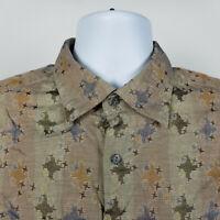 Jhane Barnes Mens Blue Green Brown Geometric Dress Button Shirt Size Large L
