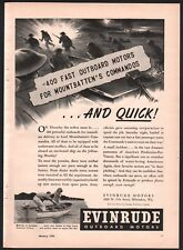 1943 EVINRUDE Outboard Motor AD WWII 400 for Mountbatten British Commandos