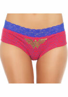 Wonder Woman Logo Basic Pantie w/ Lace Band Medium Red & Blue Comic Fan Lingerie