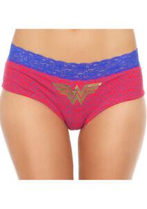 Wonder Woman Logo Basic Pantie w/ Lace Band Medium Red & Blue Comic Fan Lingerie