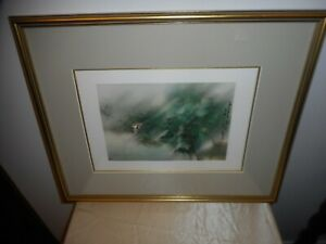 """VTG. STEPHEN LOWE FRAMED WATERCOLOR PRINT """"LONELY BOAT IN BAMBOO FOREST""""!"""