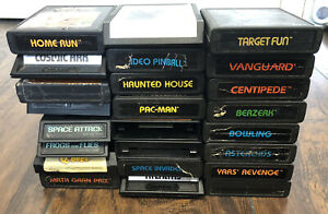 Atari 2600 24 Game Lot Yars Revenge, Berzerk, Asteroids, Warplock Etc UNTESTED