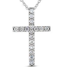 "I/VS 1 Ct Diamond Cross 14k White Gold 18"" Chain Womens Necklace 1 1/4"" Tall"