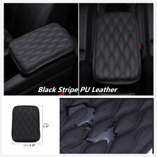 Universal Car Center Console Armrest Cushion Black Stripe PU Leather Waterproof