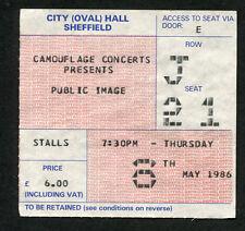 Original 1986 Public Image Pil Concierto Ticket Stub Sheffield UK Johnny Rotten