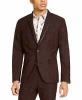 INC Mens Suit Separate Red Size Small S Slim Fit Windowpane Blazer $129 #069