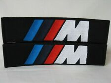 Embroidery Cool Black Seat Belt Cover Shoulder Pads Pair BMW M M3 M5 Power Logo