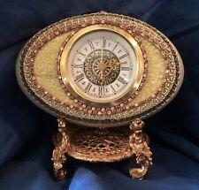 """Mercedes Clock Inside Signed HandPainted Highly Embellished Genuine Egg 6"""" X 4"""""""