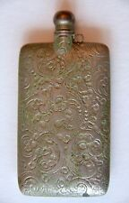 Vintage Etched Engraved Metal Perfume Bottle Flask