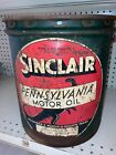 SINCLAIR 5 Gallon PENNSYVANIA MOTOR OIL CAN with WOOD HANDLE