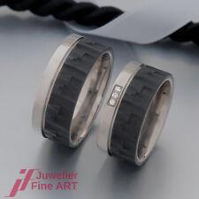 TITAN FACTORY Ringe - Trauringe/Eheringe-Titan/Carbon - 3 Brillanten 0,03ct