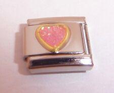 PINK GLITTER HEART 9mm Italian Charm - fits Classic Starter Bracelets I Love You