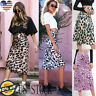 Women Cheetah Leopard Print Casual Mid-Calf Skirt Club Holliday Bodycon Dress US
