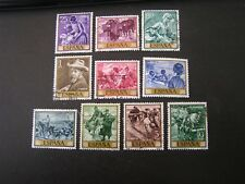 SPAIN, SCOTT # 1215-1224(10),COMPLETE SET 1964 PICTORIAL IN GOLD FRAME ISS USED