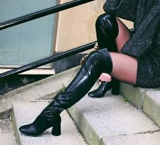 Zara OVER KNEE BLACK TALL STRETCH HEEL BOOTS SIZE 6