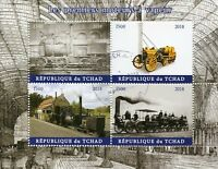 Chad 2018 CTO First Steam Engines Locomotives 4v M/S Trains Rail Stamps