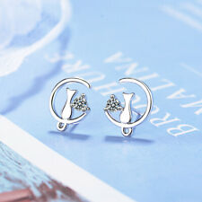 Muye 925 Sterling Silver Inlay Crystal Cute Cat Earrings Stud Jewellery Women