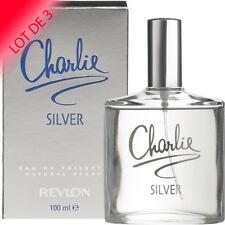 Charlie Silver de Revlon pour femme EDT 100ml LOT DE 3  +1 Échantillon