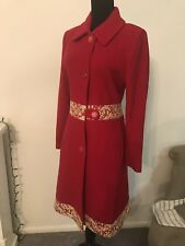 100% Cashmere Red Coat With Gold Lace Embroidery
