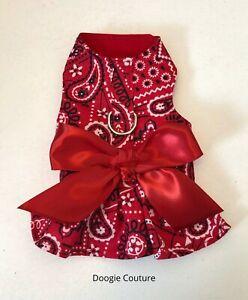 Red Bandana Dog Harness Size XXXS-Medium by Doogie Couture