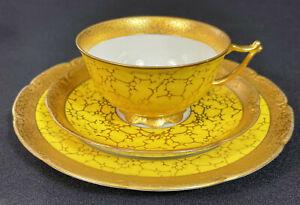 ILMENAU Graf Henneberg PRUNKGEDECK Gedeck Tasse Kaffeegedeck GELB GOLD Ätzgold