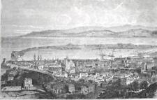 SICILIA PORTO DI MESSINA VEDUTA PANORAMA STRETTO CALABRIA stampa antica 1893