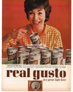 1963 Schlitz Beer New Pull Top Cans Woman Loves to Open Them Vintage Print Ad
