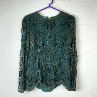 VTG Stenay Beaded Blouse Womens Size Medium Green Long Sleeve Shirt Formal Silk
