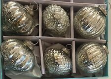 MARTHA STEWART SILVER CRACKLE MERCURY GLASS KUGEL STYLE CHRISTMAS ORNAMENTS SET6