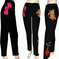 Dolce & Gabbana Jewelry Floral Embroidery Applique High Waist Streth Wool Pants