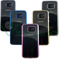 Custodia cover TPU Crystal Chrome per Samsung Galaxy S7 Edge G935F trasparente