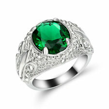 Size 7 Green Emerald Gem Engagement Ring white Rhodium Plated Wedding Band gift