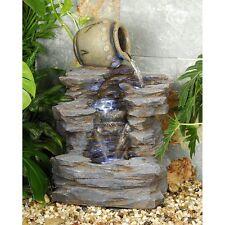 DW73064 -  Spilling Jug Cascading Garden Fountain w/Pump & LED Light Kit!
